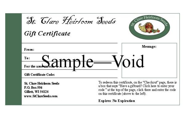 St Clare Gift Certificate - St. Clare Heirloom Seeds